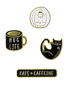 Cats and Caffeine Enamel Pin Set