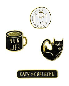 Mara-Mi Cats and Caffeine Enamel Pin Set