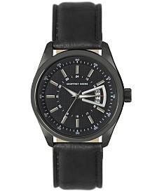 Geoffrey Beene Black Dial Silver Accent Black Strap Watch