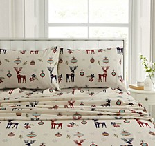 Holiday Print Heavyweight Flannel Extra Deep Pocket Queen Sheet Set