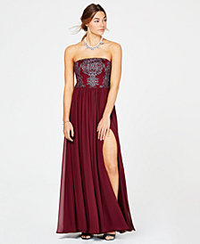Speechless Juniors' Caviar-Beaded Strapless Gown, Created for Macy's