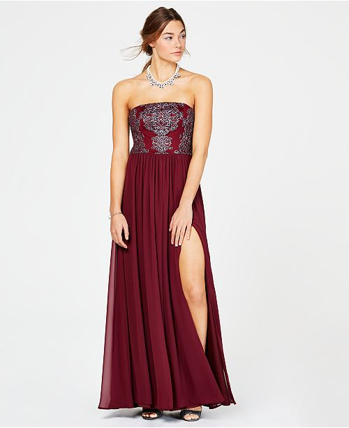 f7be1a9cc523 ... Speechless Juniors' Caviar-Beaded Strapless Gown, Created for Macy's ...