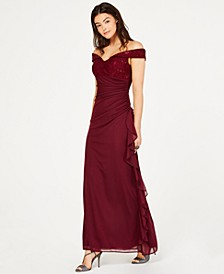 Petite Lace Off-The-Shoulder Gown