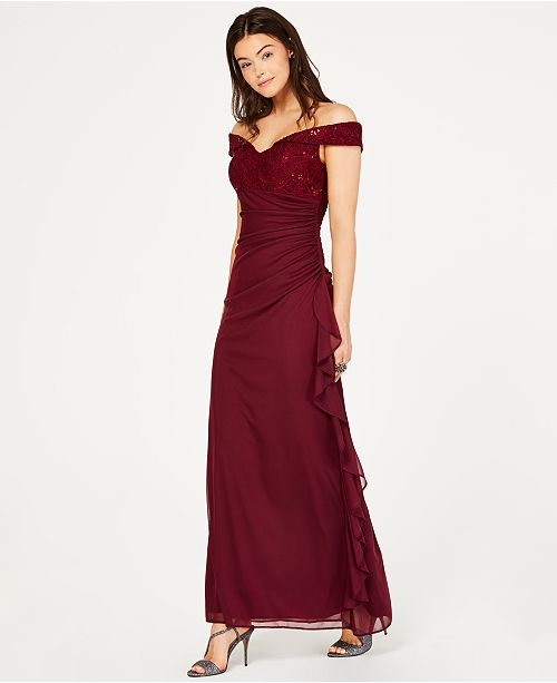 e80d9792eabd Betsy Adam Sequined Lace Ruched Gown Reviews Dresses Women