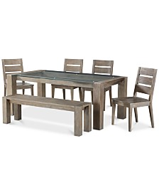 Sava Dining Furniture, 6-Pc. Set (Table, 4 Side Chairs, & Bench), Created for Macy's