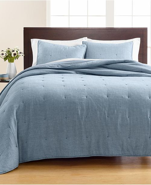 Martha Stewart Collection Tufted Chambray Quilt and Sham Collection, Created for Macy's