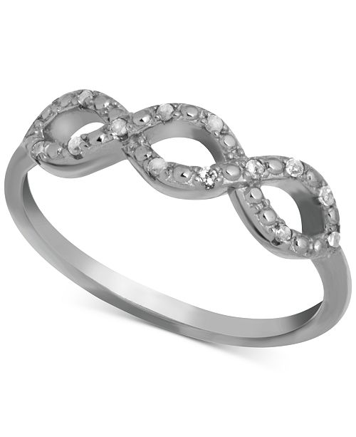 Macy's Diamond Infinity Ring (1/10 ct. t.w.) in Sterling Silver