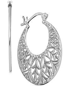 Essentials Openwork Pattern Hoop Earrings in Fine Silver-Plate