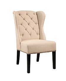 Audrey Tufted Linen Wingback Dining Chair