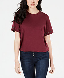 Carbon Copy Cropped Rhinestone-Embellished T-Shirt
