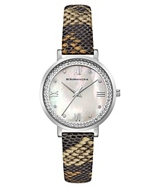 Ladies Printed Leather Strap Watch with Light MOP Dial, 33mm