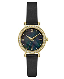 Ladies Black Leather Strap Watch with Dark MOP Dial, 30mm