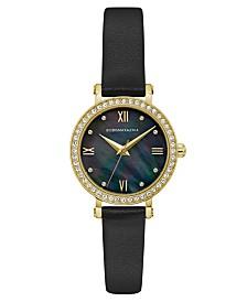BCBGMAXAZRIA Ladies Black Leather Strap Watch with Dark MOP Dial, 30mm