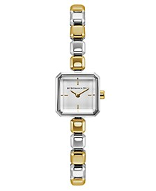 Ladies Two Tone Bracelet Watch with Silver Square Dial, 20mm
