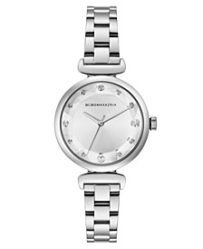 Ladies Silver Stainless Steel Bracelet with Facet Dial, 32mm