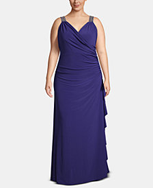 Betsy & Adam Plus Size Embellished Faux-Wrap Gown