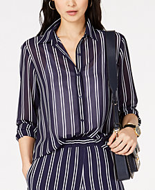 MICHAEL Michael Kors Striped Semi-Sheer Blouse, Regular & Petite