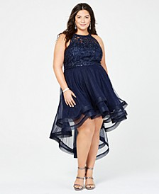 Trendy Plus Size Embellished High-Low Dress, Created for Macy's