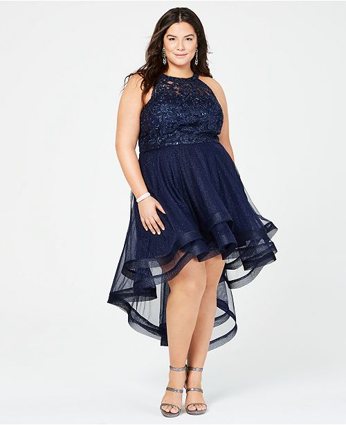 Say Yes to the Prom Trendy Plus Size Embellished High-Low Dress, Created for Macy's