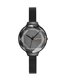 RumbaTime Orchard Gem Black Diamond Mesh Women's Watch