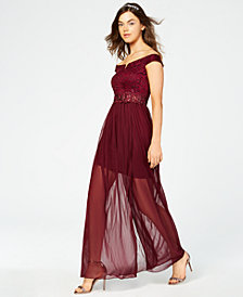 BCX Juniors' Sparkle Lace Off-The-Shoulder Gown, Created for Macy's