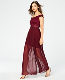 ded7875b98e5 BCX Juniors' Sparkle Lace Off-The-Shoulder Gown, Created for Macy's