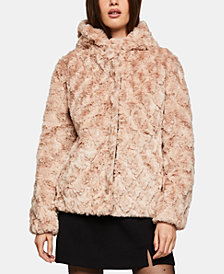 BCBGeneration Hooded Faux-Fur Jacket