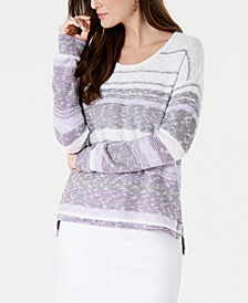 Petite Striped Drop-Shoulder Sweater, Created for Macy's