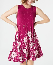 Style & Co Printed Trapeze Dress, Created for Macy's