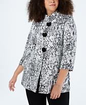 07fa193ea0155 JM Collection Plus Size Metallic Jacquard Jacket