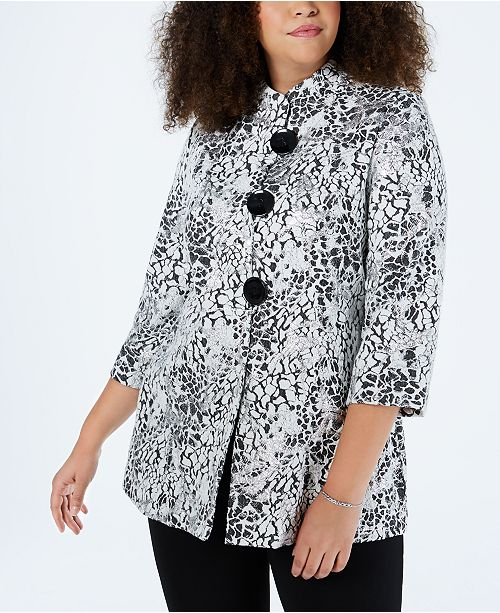 JM Collection Plus Size Metallic Jacquard Jacket, Created for Macy's