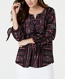 Style &Co Printed Split-Neck Tunic, Created for Macy's