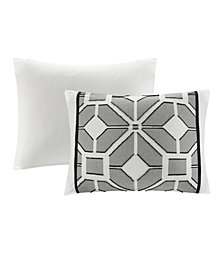 "N Natori Shandong 20"" x 20"" Embroidered Cotton Square Decorative Pillow"