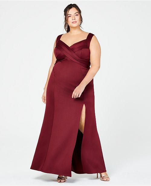 Emerald Sundae Trendy Plus Size Crossover Scuba Gown