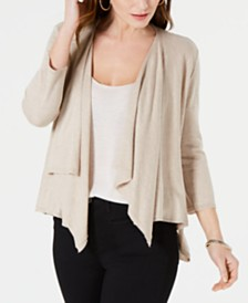 Style & Co Draped Pointelle-Back Cardigan, Created for Macy's