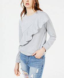 Material Girl Juniors' Ruffled Sweatshirt, Created for Macy's