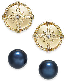 Charter Club Gold-Tone 2-Pc. Set Pavé & Imitation Pearl Nautical Stud Earrings, Created for Macy''s