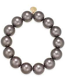 Charter Club Gold-Tone Crystal & Colored Imitation Pearl Stretch Bracelet, Created for Macy's