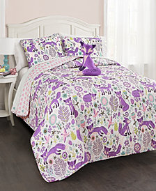 Pixie Fox 4-Pc Set Full/Queen Quilt Set