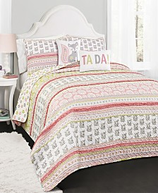Fox Ruffle Stripe 4-Pc Set Twin Quilt Set