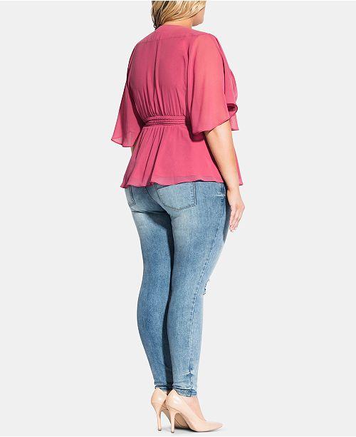 City Chic Commentaires manches elegant haut cache transparentes Femmes Trendy et Size Rose Plus cœur a pzMUSV