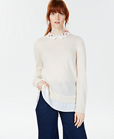 Charter Club Cashmere Layered-Look Sweater, Created for Macy's