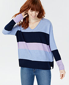 Charter Club Cashmere Striped Rolled Sweater, Created for Macy's