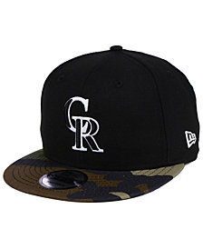 New Era Colorado Rockies Woodland Black/White 9FIFTY Snapback Cap