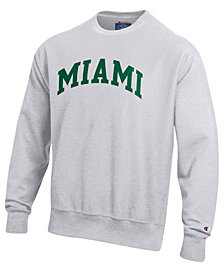 Champion Men's Miami Hurricanes Reverse Weave Crew Sweatshirt