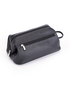 Royce Toiletry Travel Wash Bag in Pebbled Genuine Leather