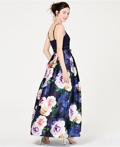 7560677b3 Teeze Me Juniors' Solid-Top Floral-Skirt Gown, Created for Macy's ...