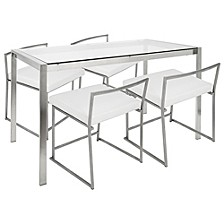 Fuji 5 Piece Dining Set in Stainless Steel and Faux Leather