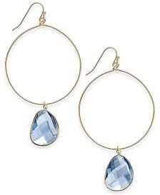 I.N.C. Gold-Tone Stone-Drop Hoop Earrings, Created for Macy's