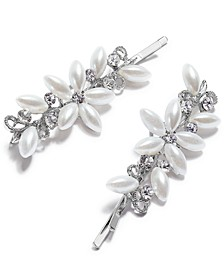 INC Silver-Tone Pearl Flower Bobby Pins, Set of 2, Created for Macy's